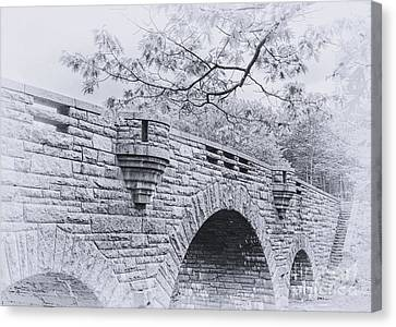 Duck Brook Bridge In Black And White Canvas Print