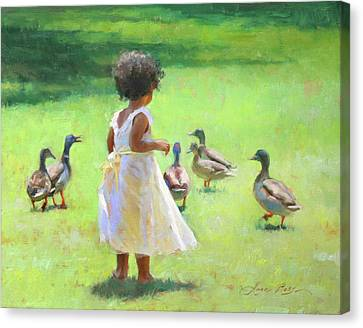 Duck Chase Canvas Print by Anna Rose Bain