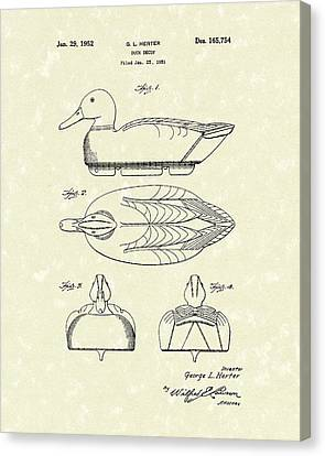 Hunting Canvas Print - Duck Decoy 1952 Patent Art by Prior Art Design
