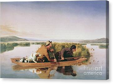 Canoe Canvas Print - Duck Hunters On The Hoboken Marshes, New Jersey, 1849 by William Tylee Ranney