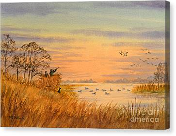 Canvas Print featuring the painting Duck Hunting Calls by Bill Holkham