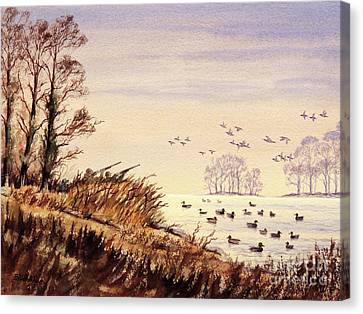Canvas Print featuring the painting Duck Hunting Times by Bill Holkham