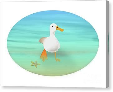 Ducklings Canvas Print - Duck Paddling At The Seaside by Beverley Brown