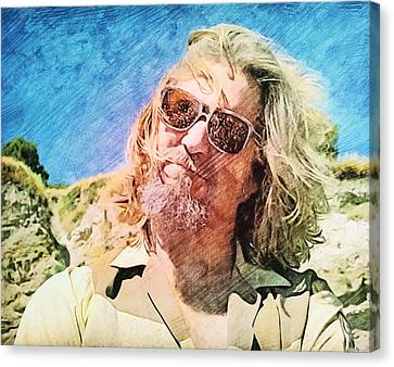 Jeff Bridges Canvas Print - Dude Dusted By Donny's Ashes by Nenad Cerovic
