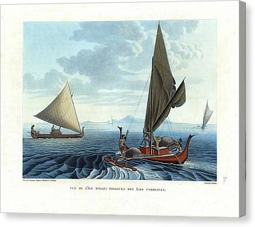 Dugout Outriggers From The Carolines Seen On Tinian Island Canvas Print by d apres A Berard and A Taunay