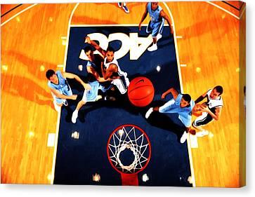 Duke And North Carolina Basketball Rivalry Canvas Print by Brian Reaves