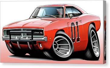 Dukes Of Hazzard General Lee Canvas Print by Maddmax