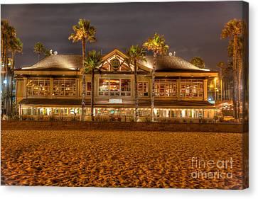 Canvas Print featuring the photograph Duke's Restaurant Huntington Beach - Back by Jim Carrell