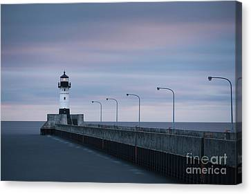 Duluth Canal Park Canal Park Lighthouse Lighthouse Lake Superior Minnesota Canvas Print - Duluth North Pier Dawn by Ernesto Ruiz