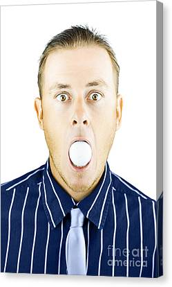 Dumbfounded Man Silenced By A Golf Ball Canvas Print
