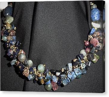 Dumorite, Goldstone Cluster Necklace Canvas Print by Karen Matthews