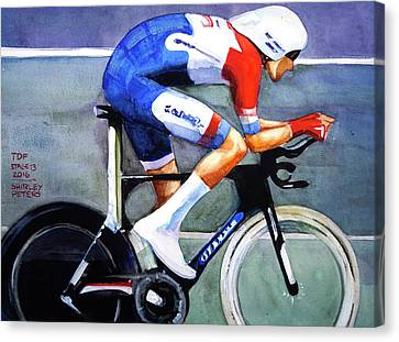 Dumoulin Wins The Time Trial Canvas Print by Shirley Peters