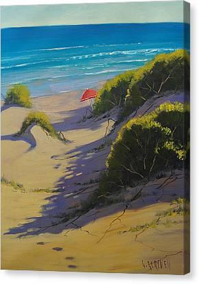 Dune Shadows Nth Entrance Beach  Nsw Australia Canvas Print by Graham Gercken