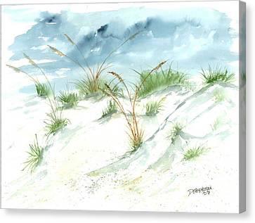 Dunes 3 Seascape Beach Painting Print Canvas Print by Derek Mccrea