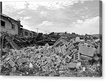 Montreal Streets Montreal Street Scenes Canvas Print - Dunn Street Demolition 2 by Reb Frost