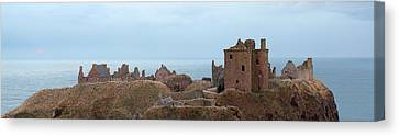 Canvas Print featuring the photograph Dunnottar Castle Moonrise Panorama by Grant Glendinning