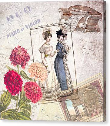 Ephemera Canvas Print - Duo For Piano And Violin by Antique Images