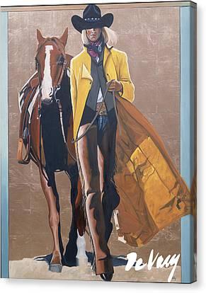 Santa Fe Cowgirl Canvas Print - Duo I by David DeVary