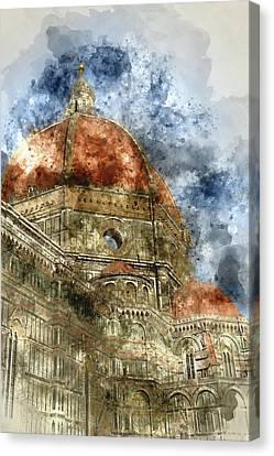 Duomo Santa Maria Del Fiore And Campanile. Florence, Italy Canvas Print by Brandon Bourdages