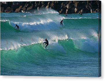 Canvas Print featuring the photograph Duranbah Surfers by Odille Esmonde-Morgan