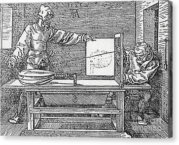 Durers Perspective Drawing Of A Lute Canvas Print by Science Source
