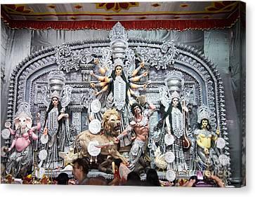 Durga Idol At Puja Pandal Durga Puja Festival Canvas Print by Rudra Narayan  Mitra