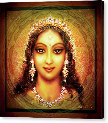 Durga In The Sri Yantra Canvas Print by Ananda Vdovic