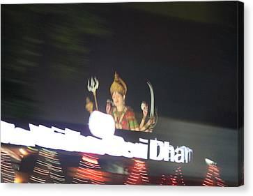 Durga Late Night From Rickshaw, Vrindavan Canvas Print by Jennifer Mazzucco