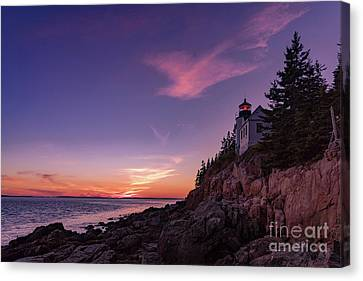 Rocky Maine Coast Canvas Print - Dusk At Bass Harbor Lighthouse by Jerry Fornarotto