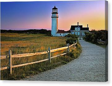 Dusk At Cape Cod Lighthouse Canvas Print by Thomas Schoeller