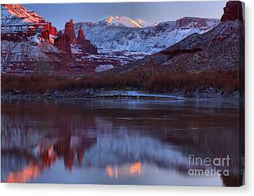 Canvas Print featuring the photograph Dusk At Fisher Towers by Adam Jewell