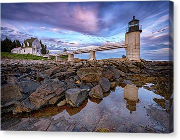 Canvas Print featuring the photograph Dusk At Marshall Point by Rick Berk