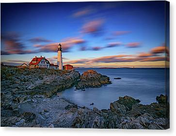 Dusk At Portland Head Lighthouse Canvas Print by Rick Berk