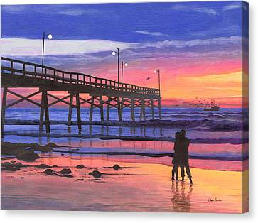 Dusk At The Pier Canvas Print by Christopher Spicer