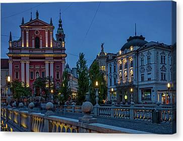Canvas Print featuring the photograph Dusk At The Triple Bridge - Slovenia by Stuart Litoff