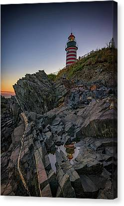 Quoddy Canvas Print - Dusk At West Quoddy Head Lighthouse by Rick Berk