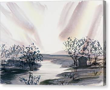 Dusk Creeping Up The River Canvas Print