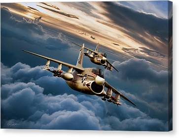Dusk Delivery Corsair II Canvas Print by Peter Chilelli