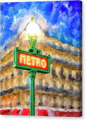 Canvas Print featuring the mixed media Dusk Done Parisian Style by Mark Tisdale