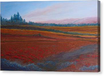 Dusk Falls On The Pumice Field Canvas Print by Jenny Armitage
