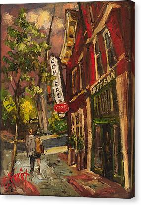 Dusk In Downtown Canvas Print by Carole Foret