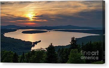 Canvas Print featuring the photograph Dusk, Mooselookmeguntic Lake, Rangeley, Maine -63362-63364 by John Bald