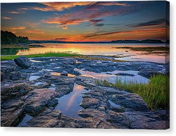 Canvas Print featuring the photograph Dusk On Littlejohn Island by Rick Berk