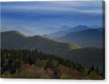 Evergreen Trees Canvas Print - Dusk On The Blue Ridge Parkway by Andrew Soundarajan