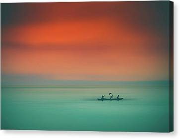 Dusk On The Lake Canvas Print by Marji Lang