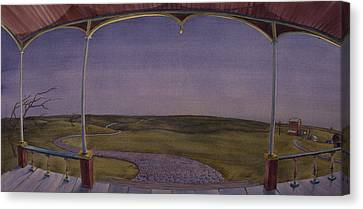Canvas Print featuring the painting Dusk On The Porch Of The Old Victorian by Scott Kirby