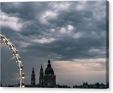Canvas Print featuring the photograph Dusk Over Budapest by Alex Lapidus
