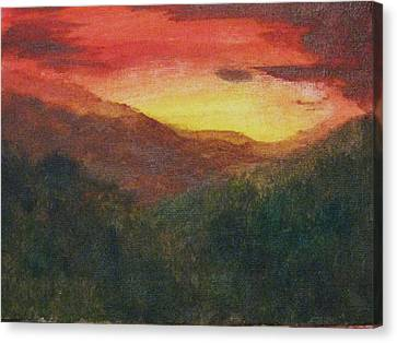 Canvas Print featuring the painting Dusk Over Smokey by Trilby Cole