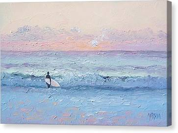 Dusk Surfer Canvas Print by Jan Matson