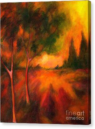 Canvas Print featuring the painting Dusks Reflection by Alison Caltrider